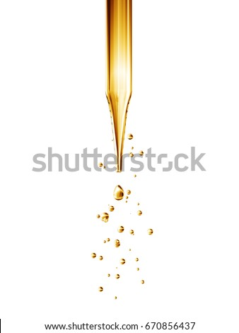 Transparent glass pipette with a Golden liquid dripping. 3D rendering