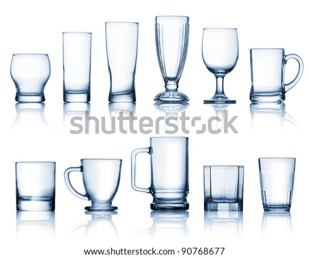 Transparent glass set isolated over white background