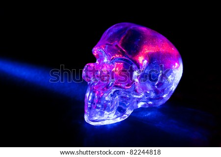 Transparent glass skull with blue and red light rays against black background.