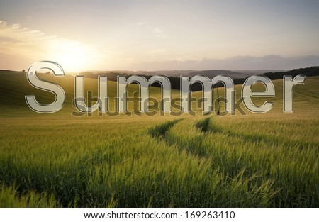 Transparent glass style text over Summer countryside landscape