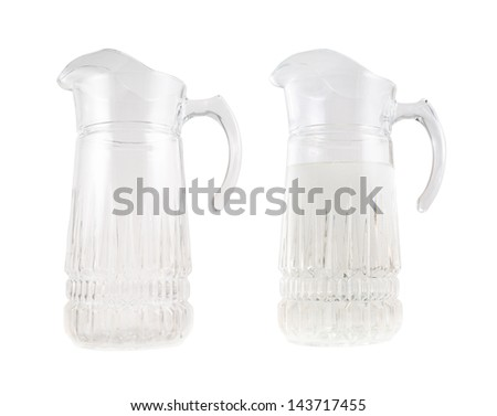 Transparent glass water pitcher ewer with a handle, isolated over white background, set of two foreshortenings