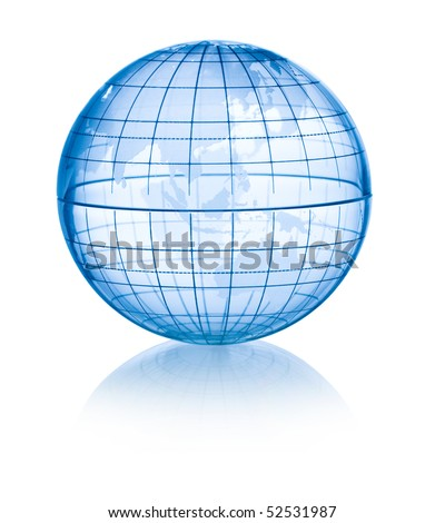 Transparent global isolated on white background with reflection.