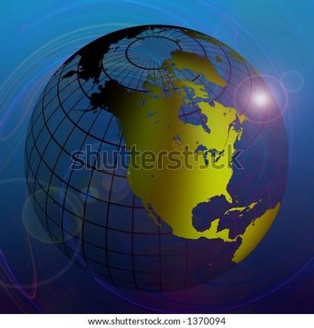 Transparent Globe on Blue Background