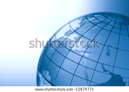 Transparent globe showing Europe,Mideast and North Africa.