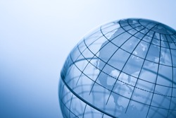Transparent globe showing North America.