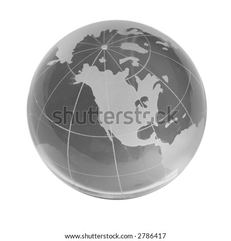 Transparent globe, western countries, isolated white