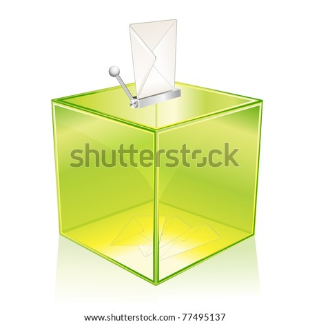 Transparent green ballot box, for your vote - stock photo