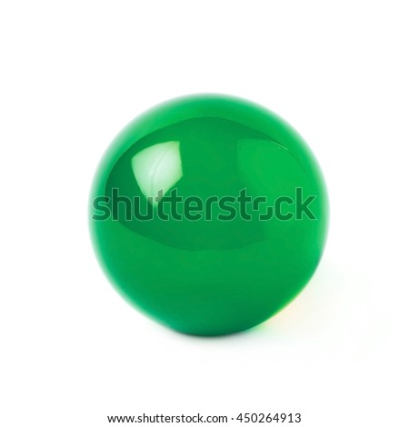 Transparent green glass ball sphere isolated over the white background #450264913