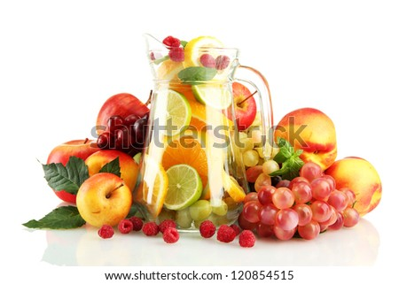transparent jar with exotic  fruits, isolated on white - stock photo