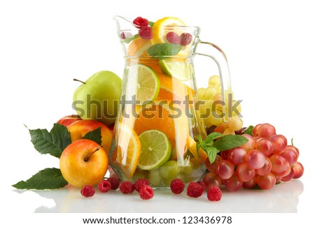 transparent jar with exotic  fruits, isolated on white
