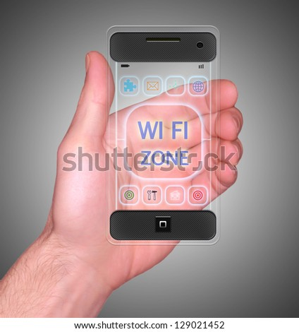 Transparent Mobile Smart Phone in man's Hand showing WI-FI Zone on screen new Digital Technology