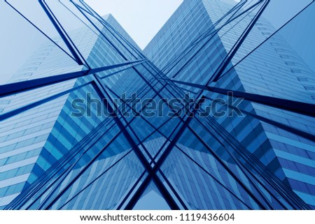Transparent modern architecture. Computer graphic image of office building fragment reflecting in glass wall of another building. Abstract hi-tech background with geometric structure. #1119436604