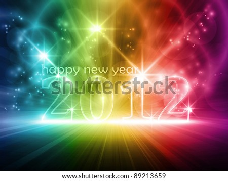 Transparent number 2012 on colorful dark background. Various lights and effects giving it a glow and feeling for party time. Space for your text. Vector version available.
