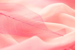 transparent pink leaf and airy fabric texture, soft pastel colors