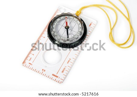 Transparent plastic compass with rope to hang from neck