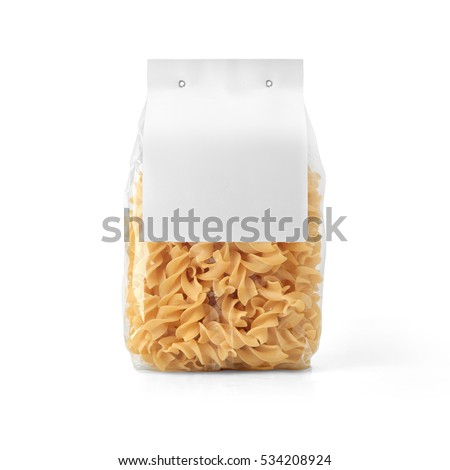 Transparent plastic pasta bag with paper label isolated on white background. Packaging template mockup collection. With clipping Path included. Stand-up Back view. Fusilli shape #534208924