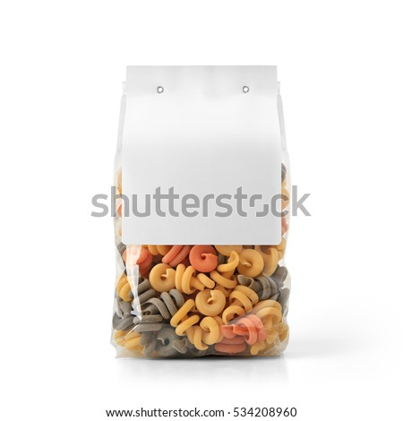 Transparent plastic pasta bag with paper label isolated on white background. Packaging template mockup collection. With clipping Path included. Stand-up Back view. Trottole shape #534208960