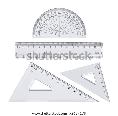 Transparent plastic rulers isolated on white
