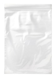 transparent plastic zipper bag isolated on white background