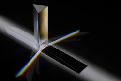 Transparent prism dispersing sunlight splitting into a spectrum on a white background