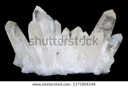 Transparent Quartz crystals, isolated on a black background. #1375806548