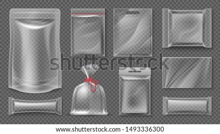 Transparent realistic pouch mockup, blank 3d food pack, empty plastic foil template.  empty image snack bag set