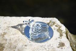 Transparent shiny cristal glass dog figurine sculpture