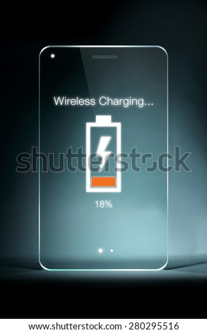Transparent tablet with wireless charging icon on blue background. Wireless charging have made life a little bit easier for smartphone users.