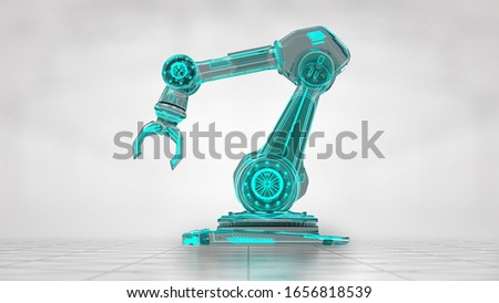 Transparent technical visualization of robotic hand in the middle of bright gray background. 3D illustraton od industrial object. Stock photo ©