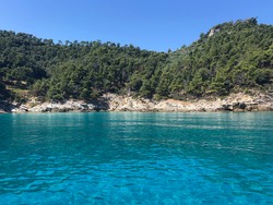 Transparent Turquoise Aegean Sea, Island Thassos, Greece
