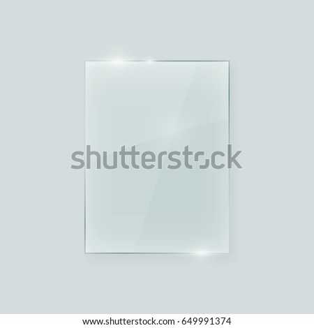 Transparent vertical glass shape. Geometric abstract glass rectangle design element with transparency.