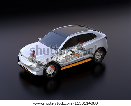 Transparent view of electric SUV car with suspension, steering system and battery package in cutaway mode. Black background and isometric view. 3D rendering image.