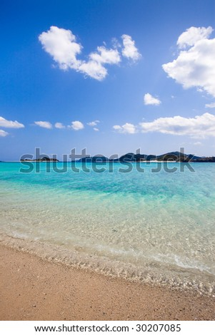 Transparent waters of paradise beach on Japanese tropical island - stock photo