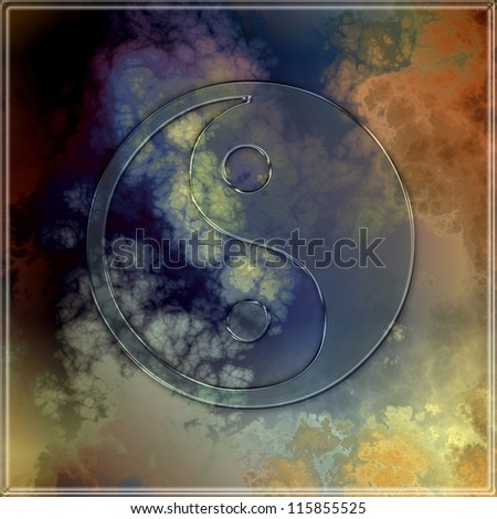 Transparent yin yang symbol on an abstract background - stock photo