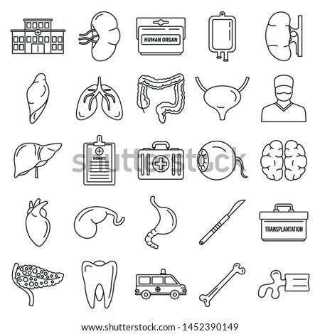 Transplantation organ icons set. Outline set of transplantation organ icons for web design isolated on white background