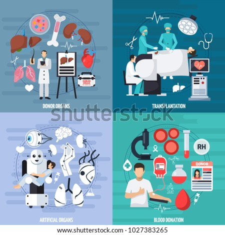 Transplantation 2x2 design concept set of donor and artificial organs blood donation and transplant operation compositions flat  illustration