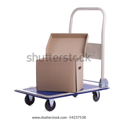 transport cart with one open carton box