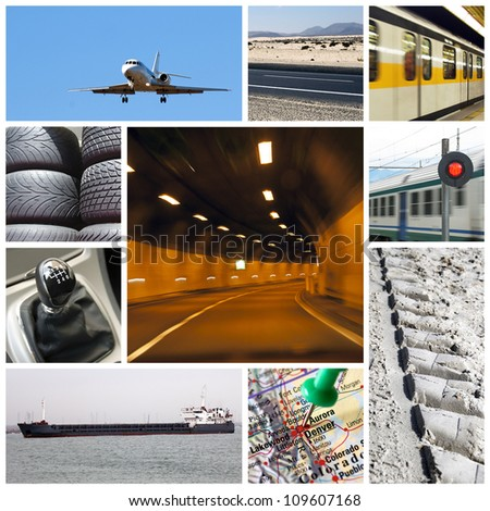 Transport collage or collection with different types of transport: trucks, airplane, car, boat, train