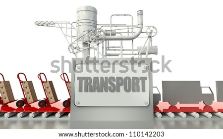 Transport concept with cardboard boxes and trucks