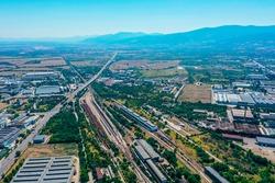 Transport hub, industrial zone, train railways depot and storage.