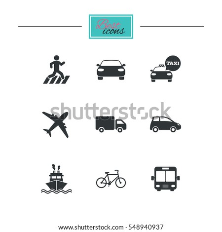 Transport icons. Car, bike, bus and taxi signs. Shipping delivery, pedestrian crossing symbols. Black flat icons. Classic design.