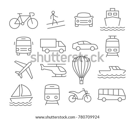 Transport line icons on white