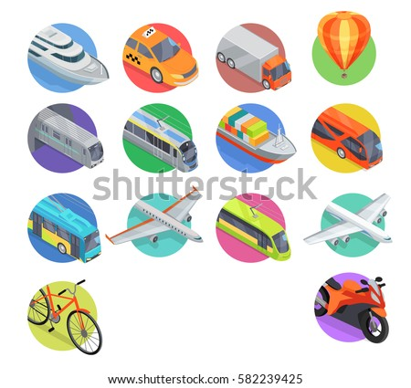Transport  logo illustration.  in isometric projection. Road, railway, flying, water, personal, public, commercial transport with caption. For ad design, app, games