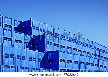 Transport  plastic containers, pile of boxes