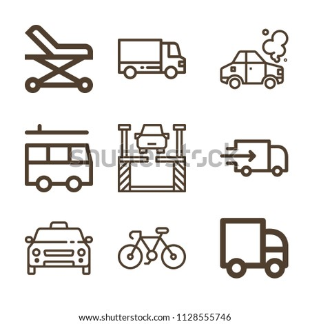 Transport related set of 9 icons such as delivery truck, delivery, taxi, accident, lift, stretcher, lorry, van