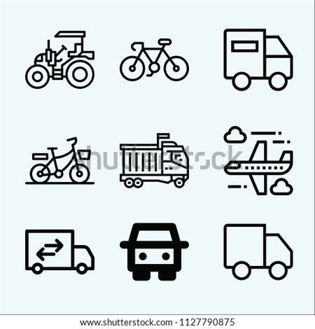Transport related set of 9 icons such as truck, tractor, aeroplane, lorry, bike
