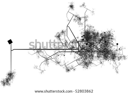 Transport System Map Blueprint of a City