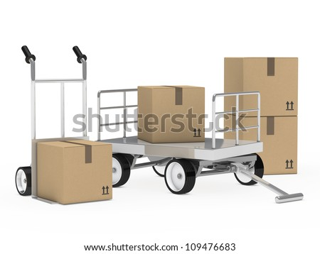 transport trolly and hand truck with packages