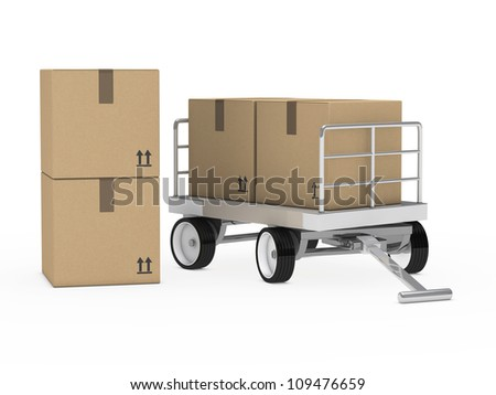 transport trolly with packages on white background