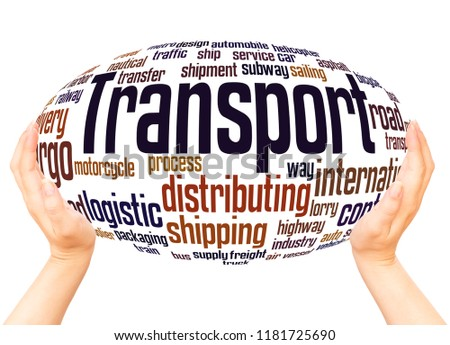 Transport word cloud hand sphere hand sphere concept on white background. #1181725690